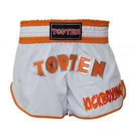 Thai Trenky Top Ten Kickboxing - bílá/oranžová bílá S