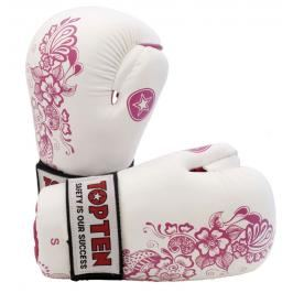 Otevřené rukavice Top Ten - bílá/růžová bílá L