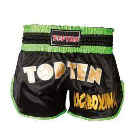 Thai Trenky Top Ten Kickboxing - černá/zelená černá L