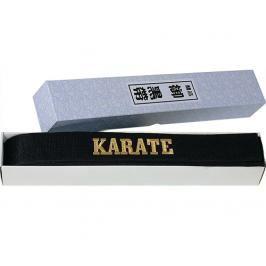 Hayashi černý saténový pásek s výšivkou Karate černá 260