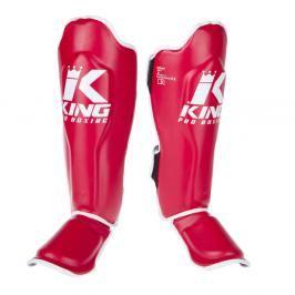 King Pro Boxing chrániče holení s nártem - červená/bílá červená S