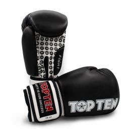 Boxerské rukavice TOP TEN Fight - černá/bílá černá 10