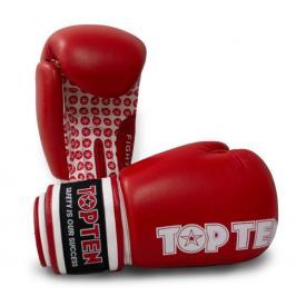 Boxerské rukavice TOP TEN Fight - červená/bílá červená 10
