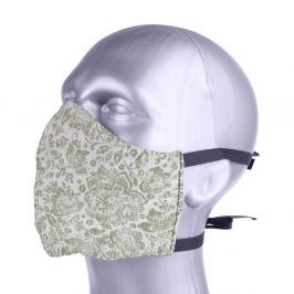 Ochranná bavlněná rouška s filtrem z nanovlákna - květiny zlatá S