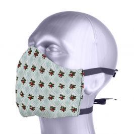 Ochranná bavlněná rouška s filtrem z nanovlákna - růže béžová L