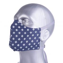 Ochranná bavlněná rouška s filtrem z nanovlákna - modrá, květ modrá S