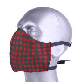 Ochranná bavlněná rouška s filtrem z nanovlákna - kostka červená S