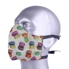 Ochranná bavlněná rouška s filtrem z nanovlákna - Makronky mix barev S