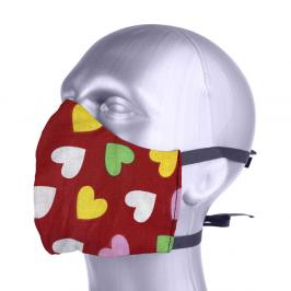 Ochranná bavlněná rouška s filtrem z nanovlákna - Srdce červená S