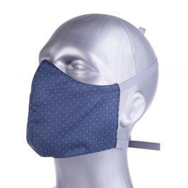 Ochranná bavlněná rouška s filtrem z nanovlákna - modrá, puntík modrá S
