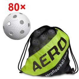 80x florbalový míček Salming Aero Plus + vak Salming Ball Sack