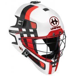 Maska Unihoc Feather 44 Bílo-červená