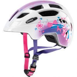 Dětská cyklistická helma Uvex Finale Junior LED bílo-růžová