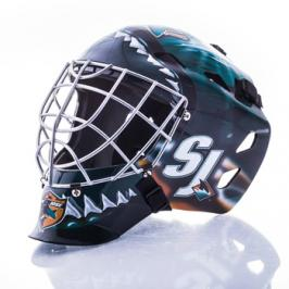 Mini brankářská helma Franklin NHL San Jose Sharks
