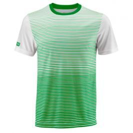 Pánské tričko Wilson Team Striped Crew Green/White