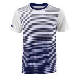 Pánské tričko Wilson Team Striped Crew Blue/White
