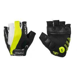 Cyklistické rukavice FORCE STRIPES gel černo-fluo