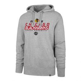 Pánská mikina s kapucí 47 Brand Headline Hood NHL Chicago Blackhawks šedá GS19