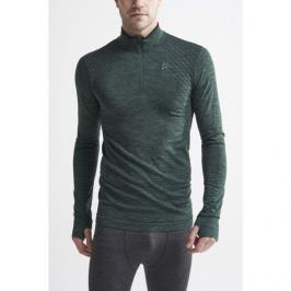 Pánské tričko Craft Fuseknit Comfort Zip LS tmavě zelené
