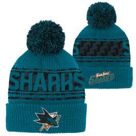 Dětská zimní čepice Outerstuff Pattern Jacquard Cuff Pom NHL San Jose Sharks