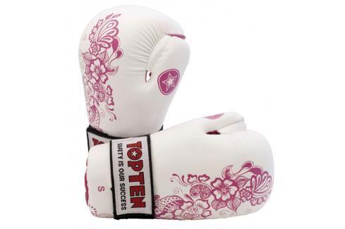 Otevřené rukavice Top Ten - bílá/růžová bílá L Boxerské rukavice