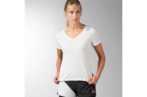 Reebok Combat Trianing Kickobing V-neck triko - bílá bílá S Pánská trička