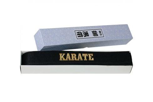 Hayashi černý saténový pásek s výšivkou Karate černá 260 Pásky ke kimonu
