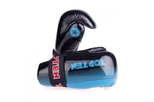 Otevřené rukavice Top Ten Glossy - černá/modrá černá XS Boxerské rukavice