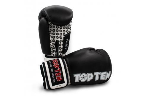Boxerské rukavice TOP TEN Fight - černá/bílá černá 10 Boxerské rukavice