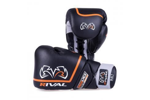 Boxerské sparingové rukavice Rival Ergo Laces - černá černá 16 Boxerské rukavice