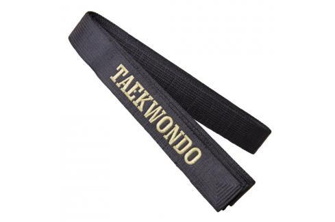 Saténový pásek s vyšitým nápisem TAEKWONDO černá Pásky ke kimonu