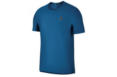 Pánské tričko Nike Court Checkered Military Blue Trička s krátkým rukávem